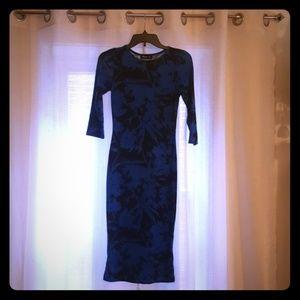 Black and Blue Pencil Midi Wiggle Dress